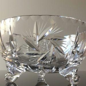 Vintage pinwheel heavy cut clear crystal bowl